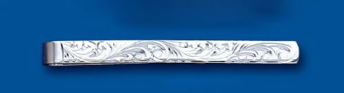 Men's Sterling Silver Tie Slide Engraved Design - British Made - Hallmarked